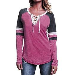 VESNIBA Women New V-Neck Patchwork Long Sleeve Loose Tops T-