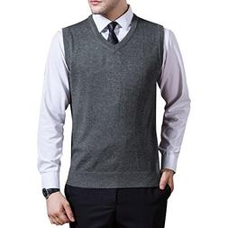 Zicac Men's V-Neck Solid Knitwear Sweater Vest Sleeveless Kn