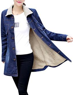 Tanming Women's Warm Sherpa Lined Long Denim Jean Jacket
