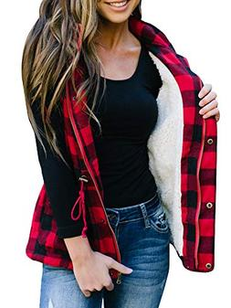 FISACE Women Buffalo Plaid Corduroy Hooded Sleeveless Anorak