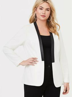 Torrid Womans Plus Size Ivory Faux Leather Trim Blazer Tux-I