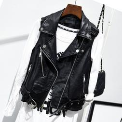 Women Coat Slim PU Leather Punk Sleeveless Vest Motorcycle J