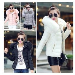 Women Down Jackets Cotton-Padded Winter Coat Large Fur Colla