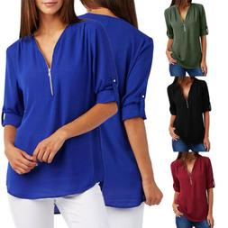 Women Fashion Chiffon Shirt V Neck Zipper Loose Long Blouse