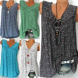 Women Floral Summer Loose Sleeveless Tank Vest Boho Baggy To