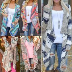 women irregular waterfall cardigan sweater poncho shawl