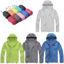 Women Men Rain Coat Jogger Sports Hiking Waterproof Windproo