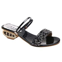 COPPEN Women Rhinestone Sandals Fish Mouth Sequins Wild Boho