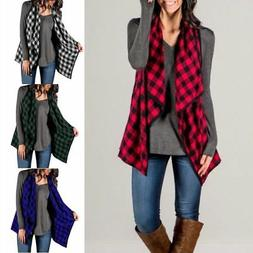 Women's Casual Sleeveless Long Coat Jacket Plaid Cardigan Ve