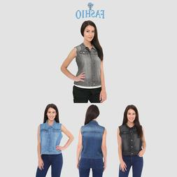 Women's Denim Chest Flap Pockets Vest Ladies Casual Jean Sle