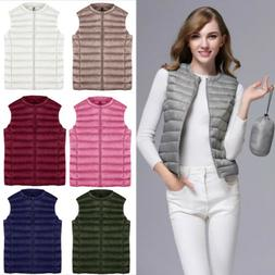 Women's Down Coat Vest Blouse Outerwear Sleeveless Jacket Pu