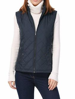 Women's Front Zip Up Stand Collar Mock Pockets Quilted Padde
