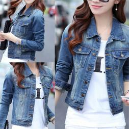 Women's Full Long Sleeve Denim Jacket Basic Cropped Button C