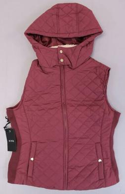 Active USA Women's Hooded Quilted Side Detailed Vest KB8 Bur