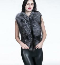 Women's Knitted Faux Fur Vests Collar Waistcoat Sleeveless G