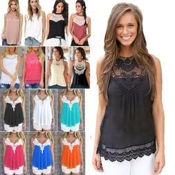 Women's Lace Tank Top Strappy Sleeveless Blouse Shirts Summe