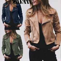 Women's Ladies Suede Leather Jacket Flight Coat Zip Up Biker