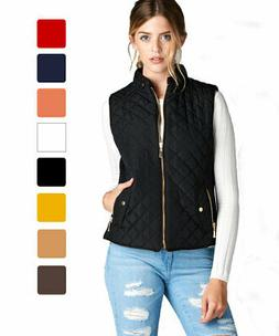 Women/'s Lightweight Quilted Padding Vest w// Suede Piping Details Top Jacket