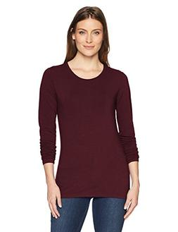 Amazon Essentials Women's Long-Sleeve T-Shirt, Burgundy, X-S