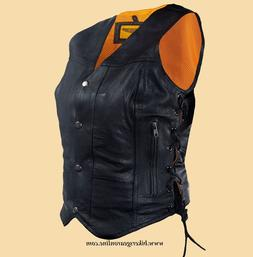 WOMEN'S MOTORCYCLE RIDING 7 POCKETBLK LEATHER VEST SIDE LACE