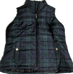 Charter Club Women's Petite Green and Black Puffer Vest Size