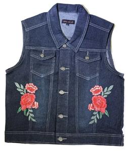 Women's Plus Size  Sleeveless Denim Vest With Floral Embroid