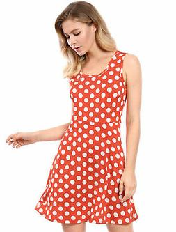 Women's Polka Dot A-Line Above Knee Sleeveless Dress