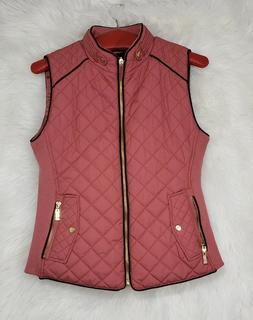 Active USA Women's Quilted Detail Vest Padded Full Zip Burgu