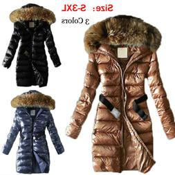 Women's Quilted Down Coat Thickened Warm Faux Fur Hooded Shi