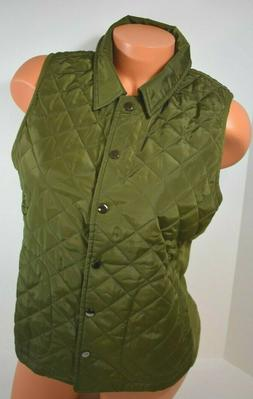 Women's Allegra K Quilted Green Sleeveless  Vest Size Small