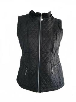 Women's Quilted Lightweight Hoodie Vest with Sherpa Line Det