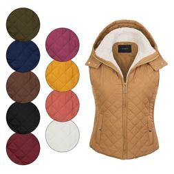 KOGMO Women's Quilted Lightweight Hoodie Vest with Sherpa Li