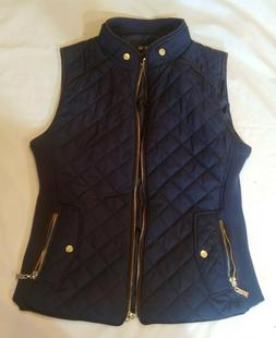 women s quilted navy blue vest small
