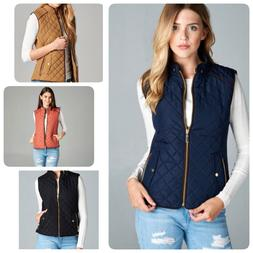 Women's Quilted Padded Vest with Suede Piping Detail