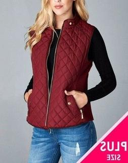 Women's Quilted Padded Vest with Suede Piping Detail(1XL, 2X