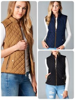 Women's Quilted Padded Vest with Suede Piping Detail USA SEL