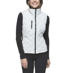 Andrew Marc Women's Quilted Vest with Ribbed Knit Cement