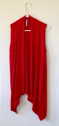 Azules Women's Red Tunic Shawl Collar Sleeveless Vest Size L