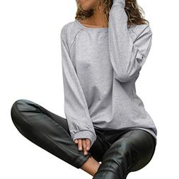 Sunhusing Women's Round Neck Long Sleeve Solid Color T-Shirt