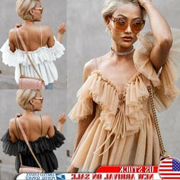 Women's Ruffled Tops Casual Cami Vest Sling Blouse Summer Pa