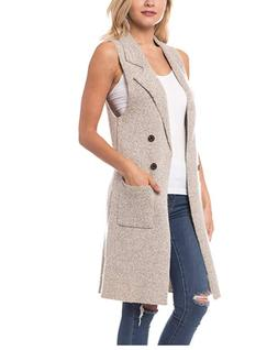 Women's Sleeveless Duster Trench Vest Casual Lapel Blazer Ja