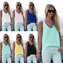 Women's Sleeveless Loose V Neck Vests Plus Size Casual Chiff