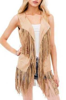 Women's Spring Hippie Faux Suede Fringed Vest Outerwear Card