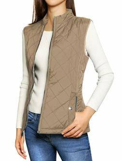 Allegra K Women'S Stand Collar Lightweight Gilet Quilted Zip