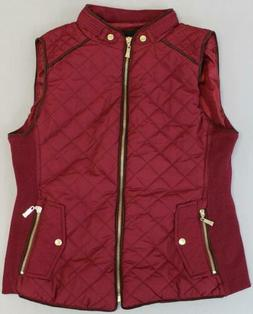Active USA Women's Suede Piping Quilted Padded Vest GS2 Burg