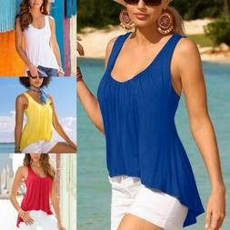 Women's Summer Solid Tunic Tank Tops Vest Ladies Causal Loos