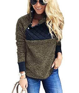 PRETTYGARDEN Women's Warm Long Sleeves Oblique Button Neck S