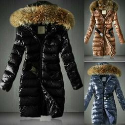 Women Shiny Quilted Down Coat Parka Faux Fur Hooded Warm Jac