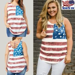 Womens American Flag Vest Summer Loose Sleeveless Tank T-Shi