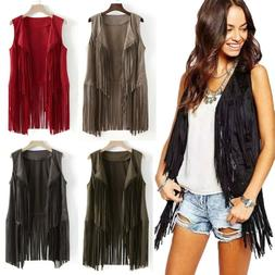 Womens Boho Suede Sleeveless Tassel Fringed Vest Coat Cardig